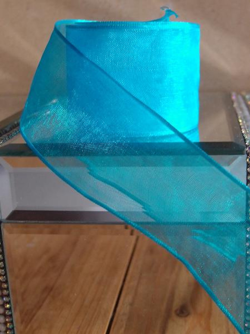 Turquoise Sheer Ribbon with Wired Edge (1 size)