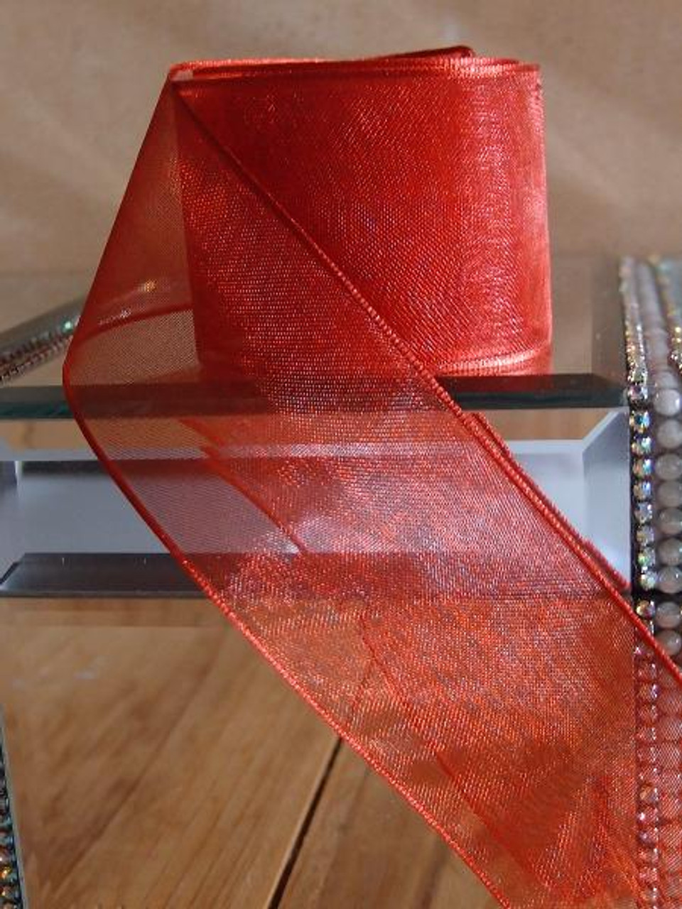 Crimson Sheer Ribbon with Wired Edge (2 sizes)