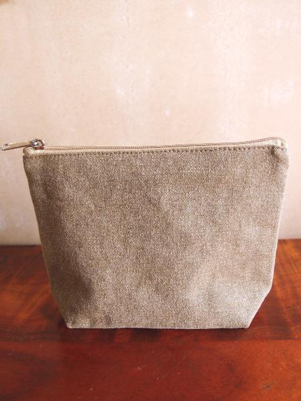 """Cotton Brown Washed Canvas Zipper Pouch  8"""""""