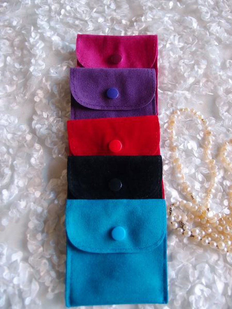 3 x 3 inches Black Velvet Flapover Jewelry Pouch with Snap Fastener (J134-39), Wholesale Velvet Jewelry Bags | Packaging Decor, Gift Packaging
