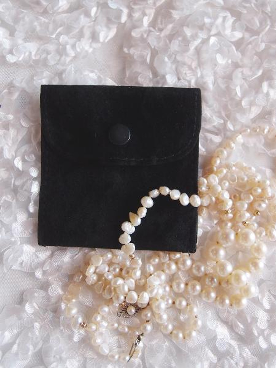 Black Velvet Jewelry Pouch with Snap Fastener 3 x 3 inches, J134-39 | Packaging Decor