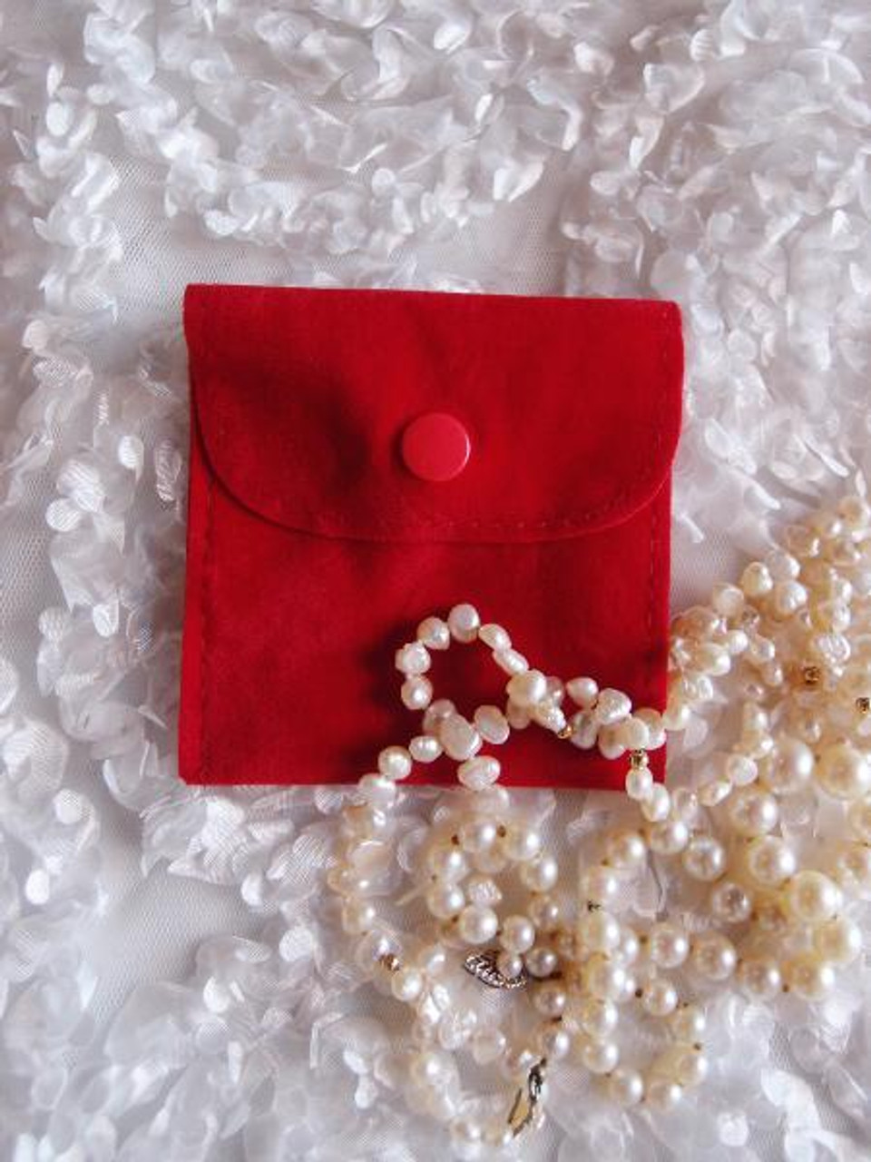 Red Velvet Jewelry Pouch with Snap Fastener 3 x 3 inches, J134-12 | Packaging Decor