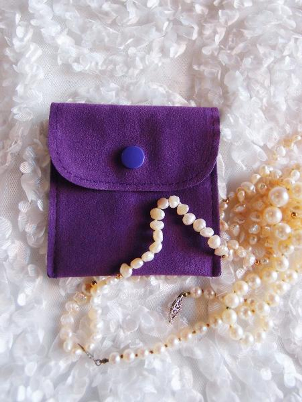 Purple Velvet Jewelry Pouch with Snap Fastener 3 x 3 inches, J134-26 | Packaging Decor