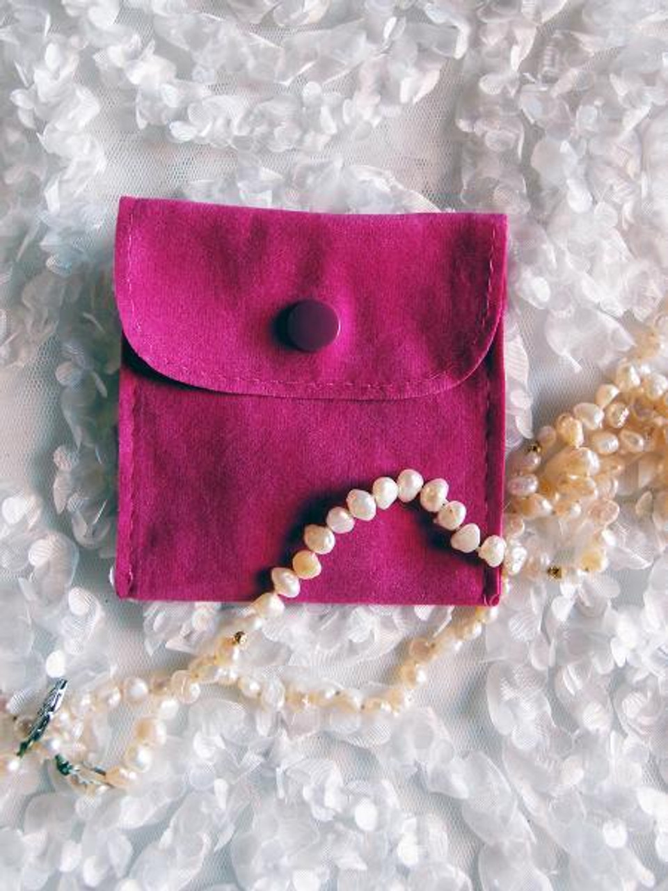 Roseberry Velvet Jewelry Pouch with Snap Fastener 3 x 3 inches J134-09   Packaging Decor