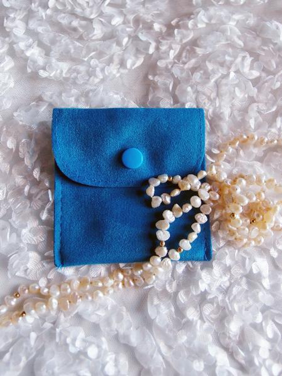 Peacock Blue Velvet Jewelry Pouch with Snap Fastener 3 x 3 inches J134-85   Packaging Decor