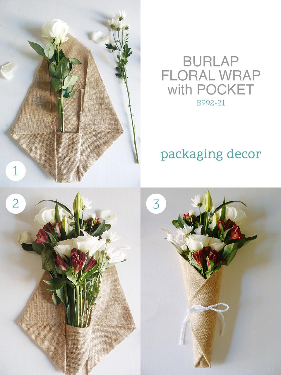 Jute Burlap Floral Wrap With Pocket, Rustic Bouquet Wrap, Wholesale Floral Wrap   Packaging Decor