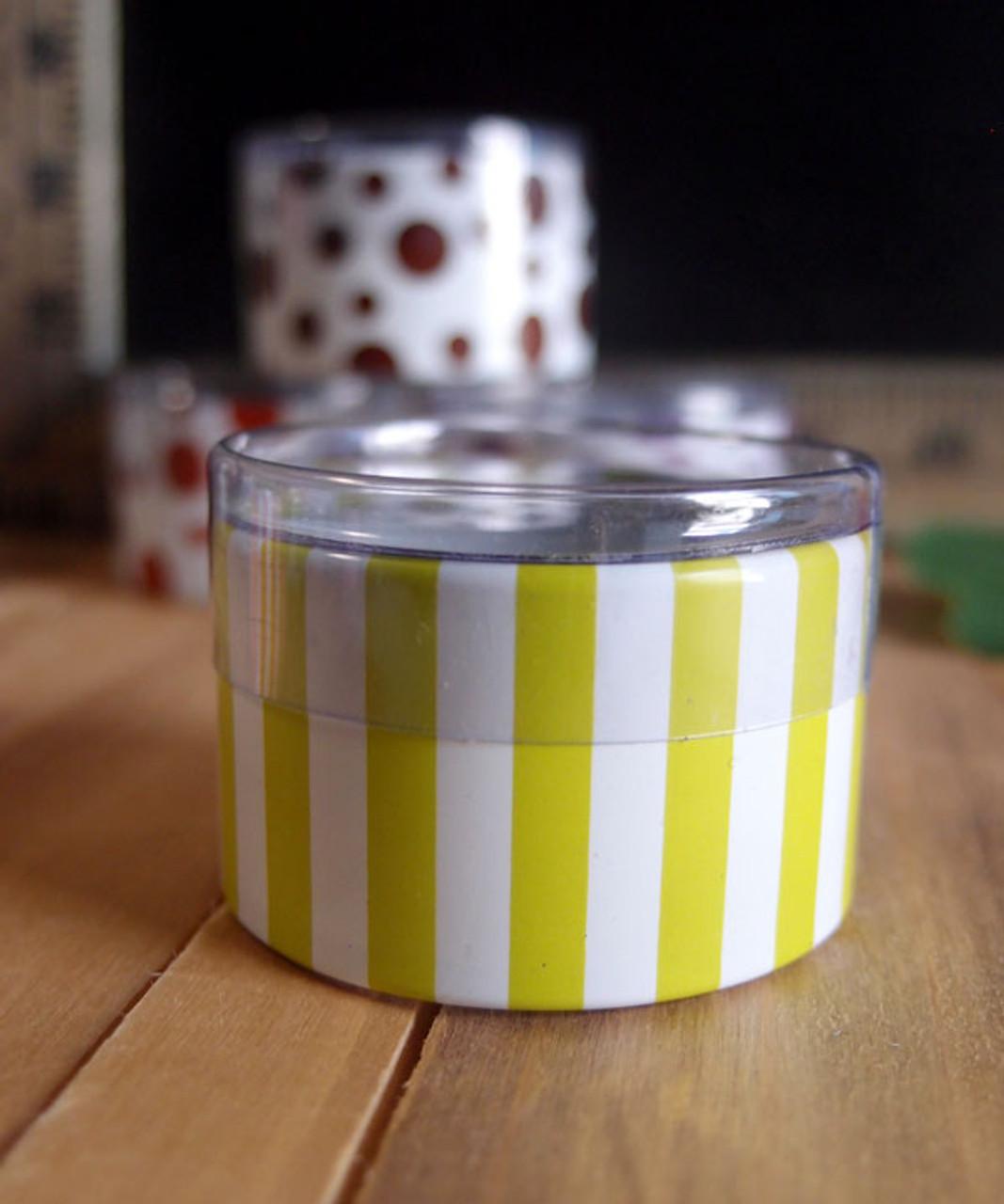 "2""dia. x 1""H Cylinder Box-Lime Stripes"