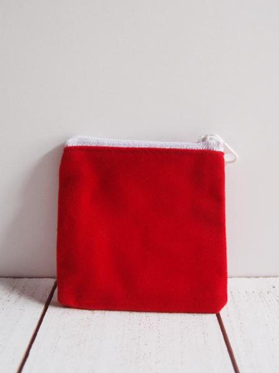 """Red Velvet Zippered Bag 3 1/2"""" x 3"""""""