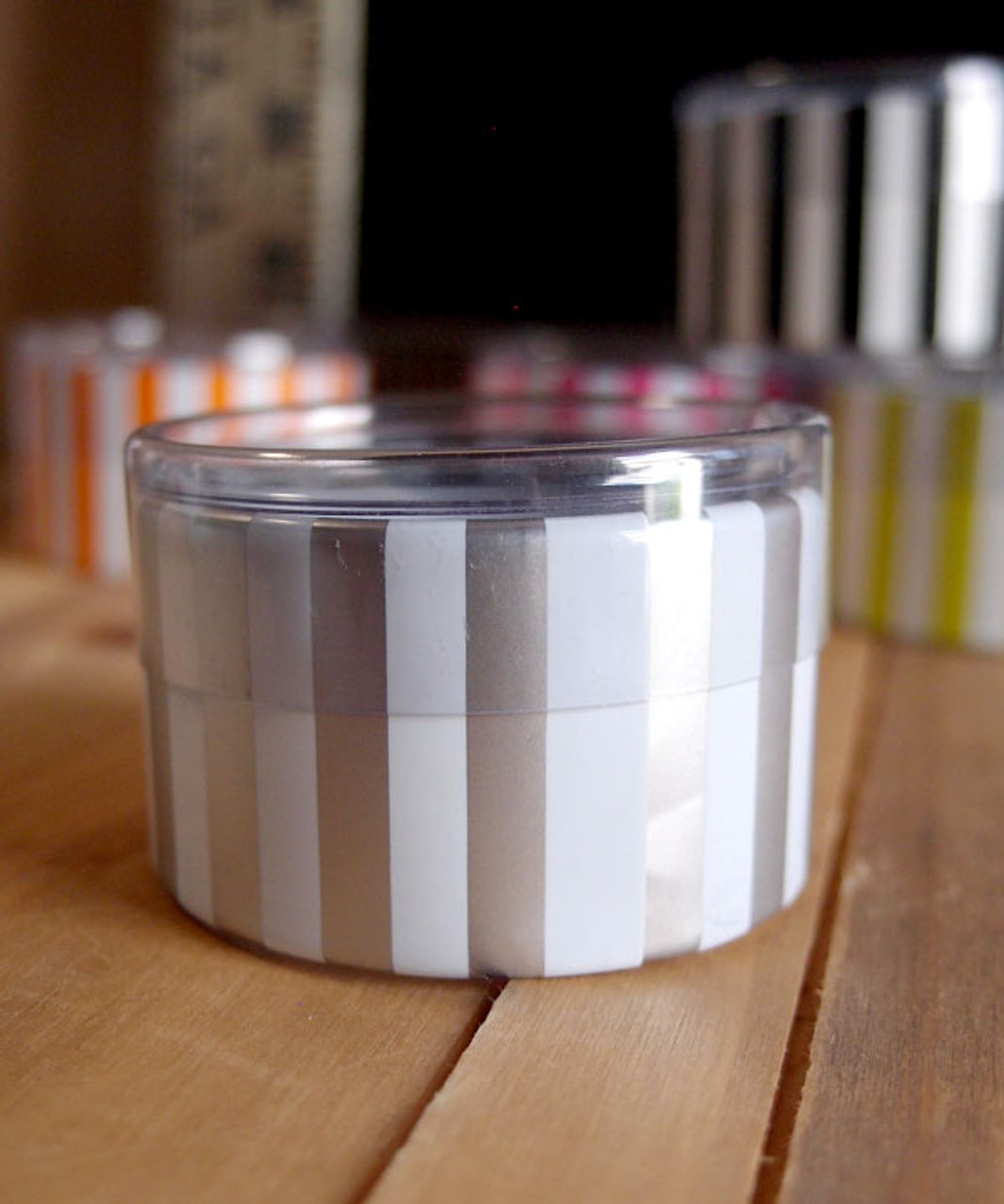 "2""dia. x 1""H Cylinder Box-White/Silver Stripes"
