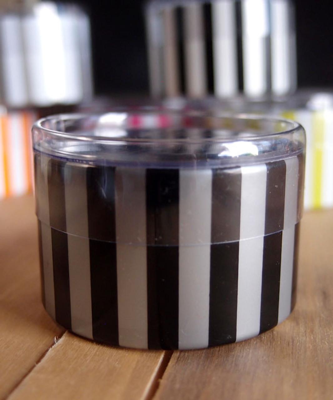 "2""dia. x 1""H Cylinder Box-Black/Silver Stripes"