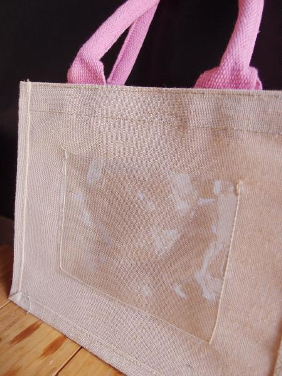 "Jute Blend Tote w/Photo Pocket  10"" x 8"" x 5"" Pink Handles"
