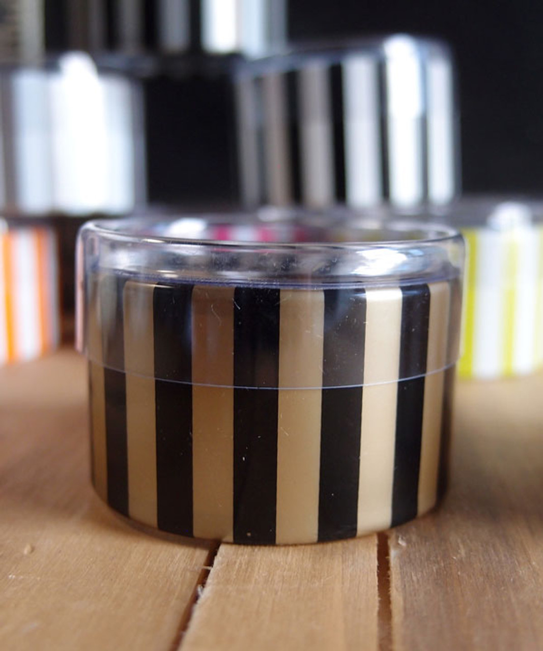 "2""dia. x 1""H Cylinder Box-Black/Gold Stripes"