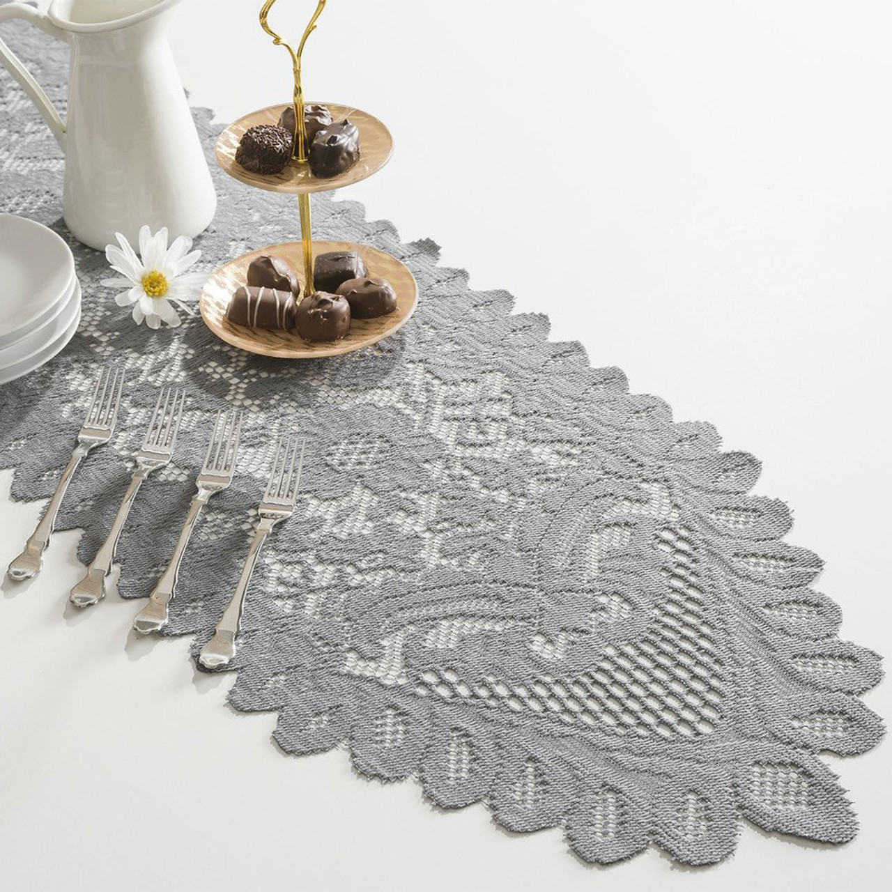 13 x 76 Gray Floral Lace Table Runners LS165-80, Wholesale Lace Table Runners For Weddings and Events   Packaging Decor