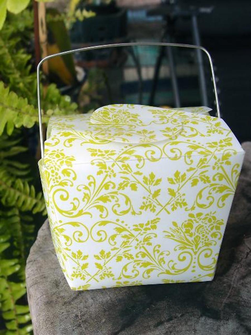 Lime Green Damask PET Take Out Box