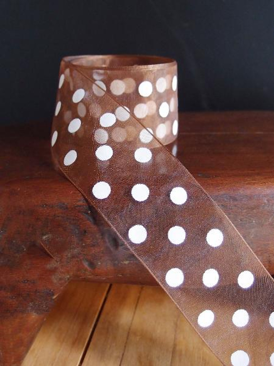 Copper Sheer Ribbon with White Dots