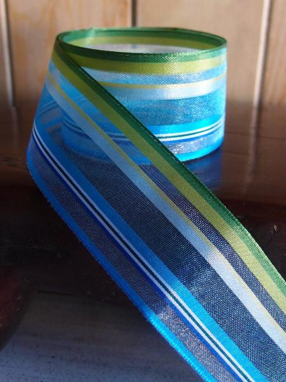 Blue-Green-White Multi-Stripes Sheer Ribbon