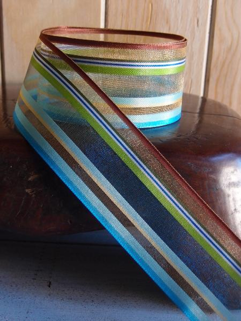 Brown-Green-Blue-White Multi-Stripes Sheer Ribbon