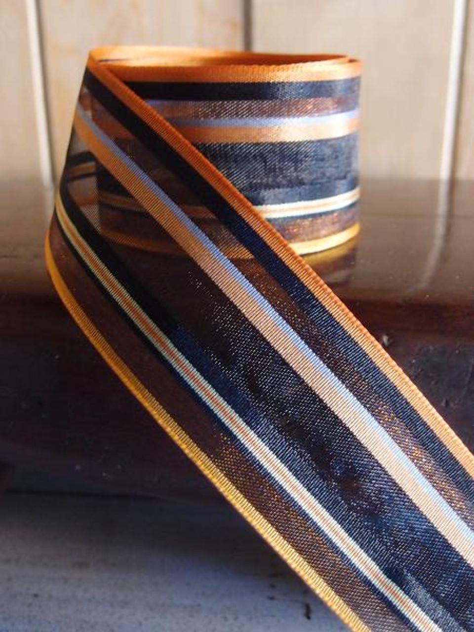 Orange-Black Multi-Stripes Sheer Ribbon