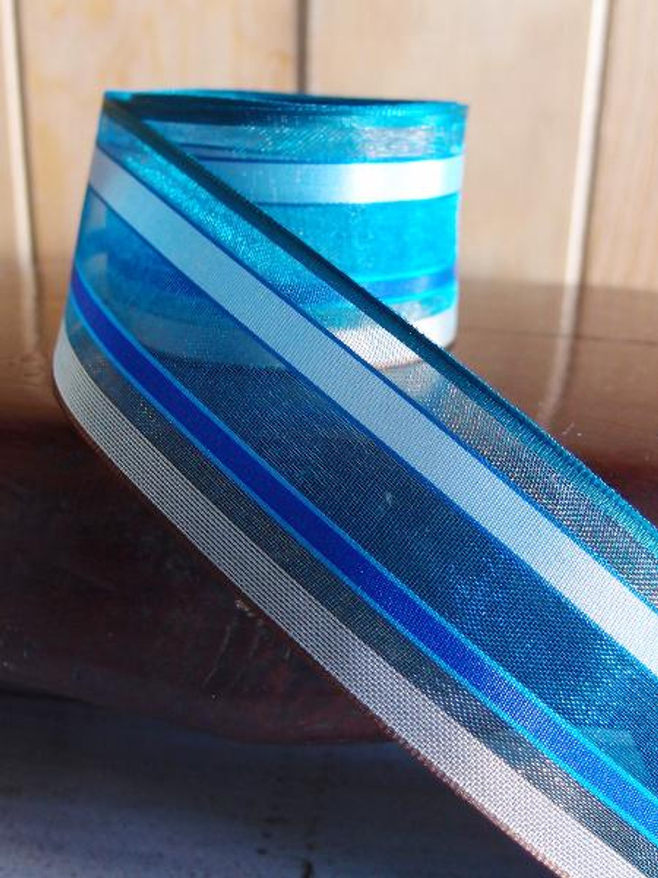 Blue-Royal Blue-White Multi-Stripes Sheer Ribbon