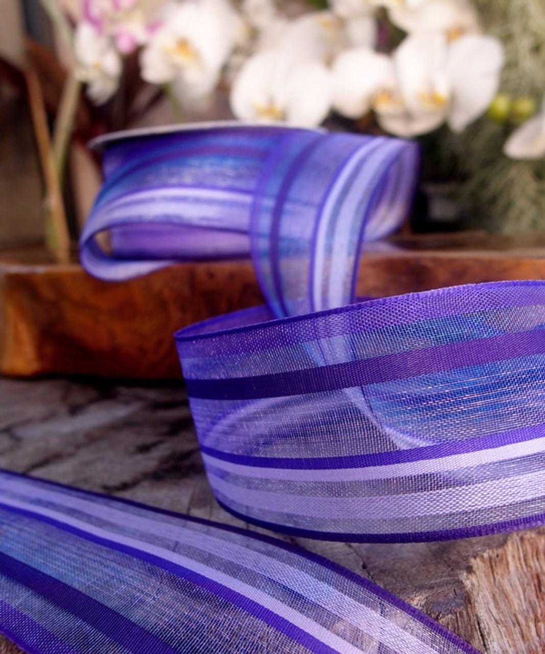 Purple-Lavender Multi-Stripes Sheer Ribbon
