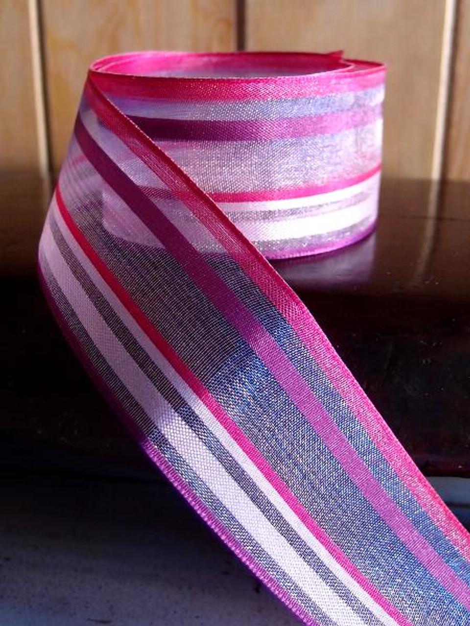 Pink-Hot Pink Multi-Stripes Sheer Ribbon
