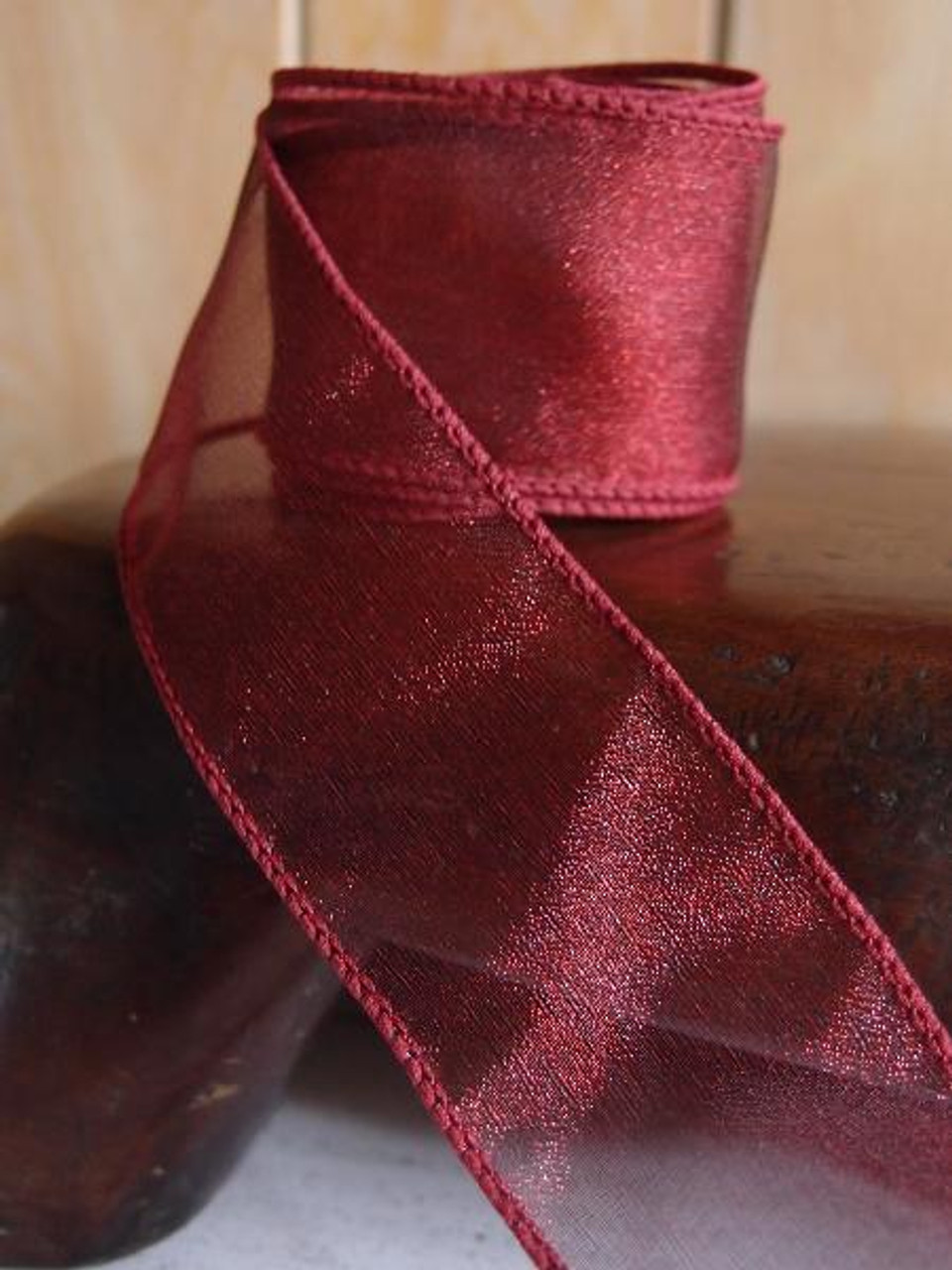 Burgundy Two-Toned Organza Wire Ribbon (2 sizes)