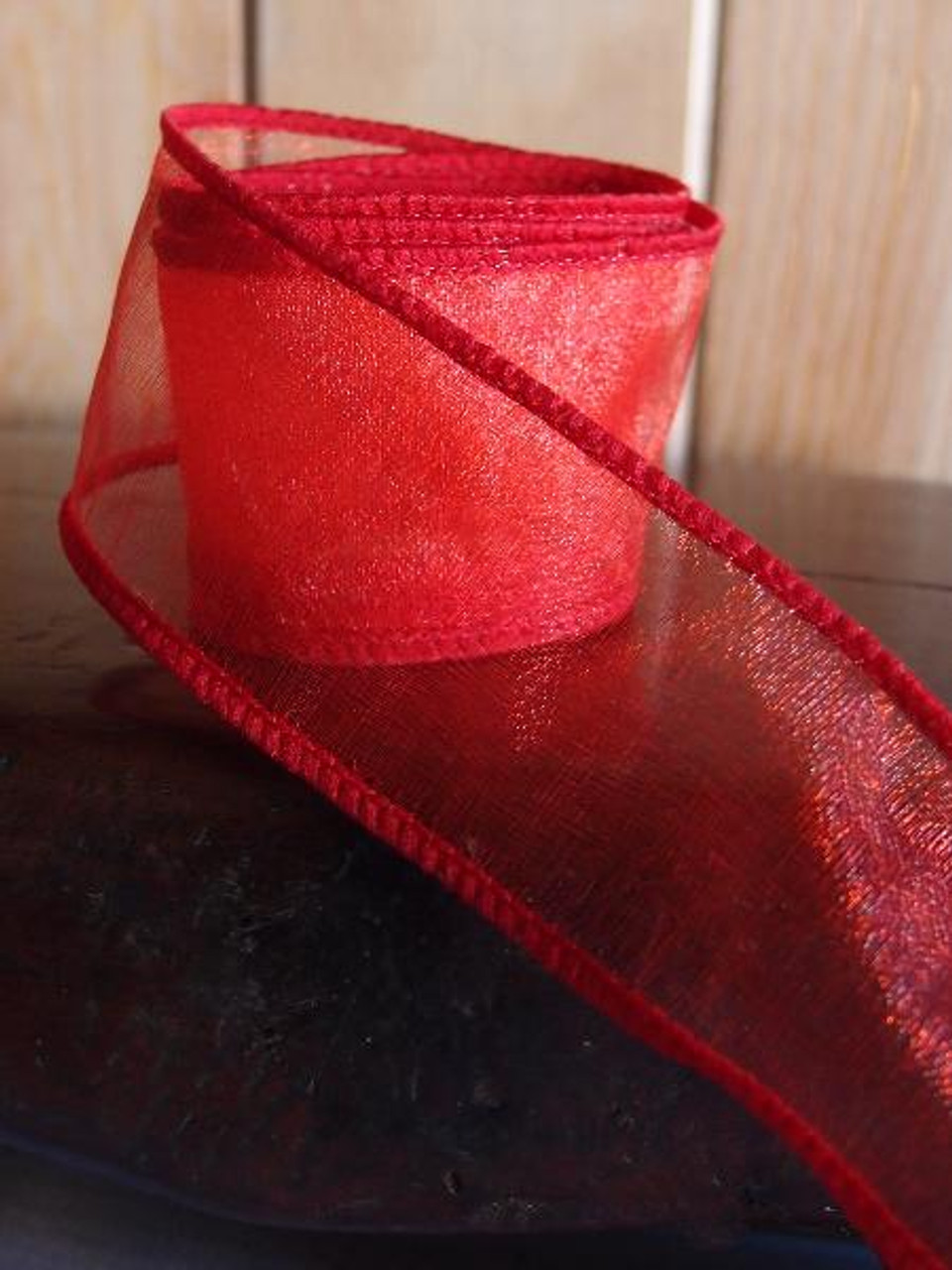 Red Two-Toned Organza Wire Ribbon (2 sizes)