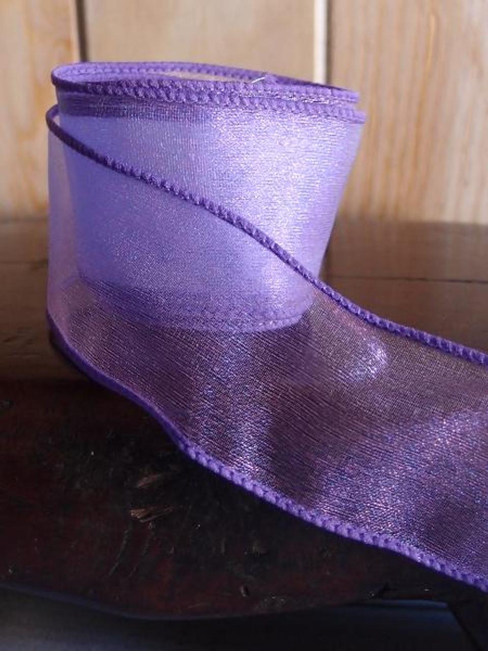 Purple Two-Toned Organza Wire Ribbon (2 sizes)