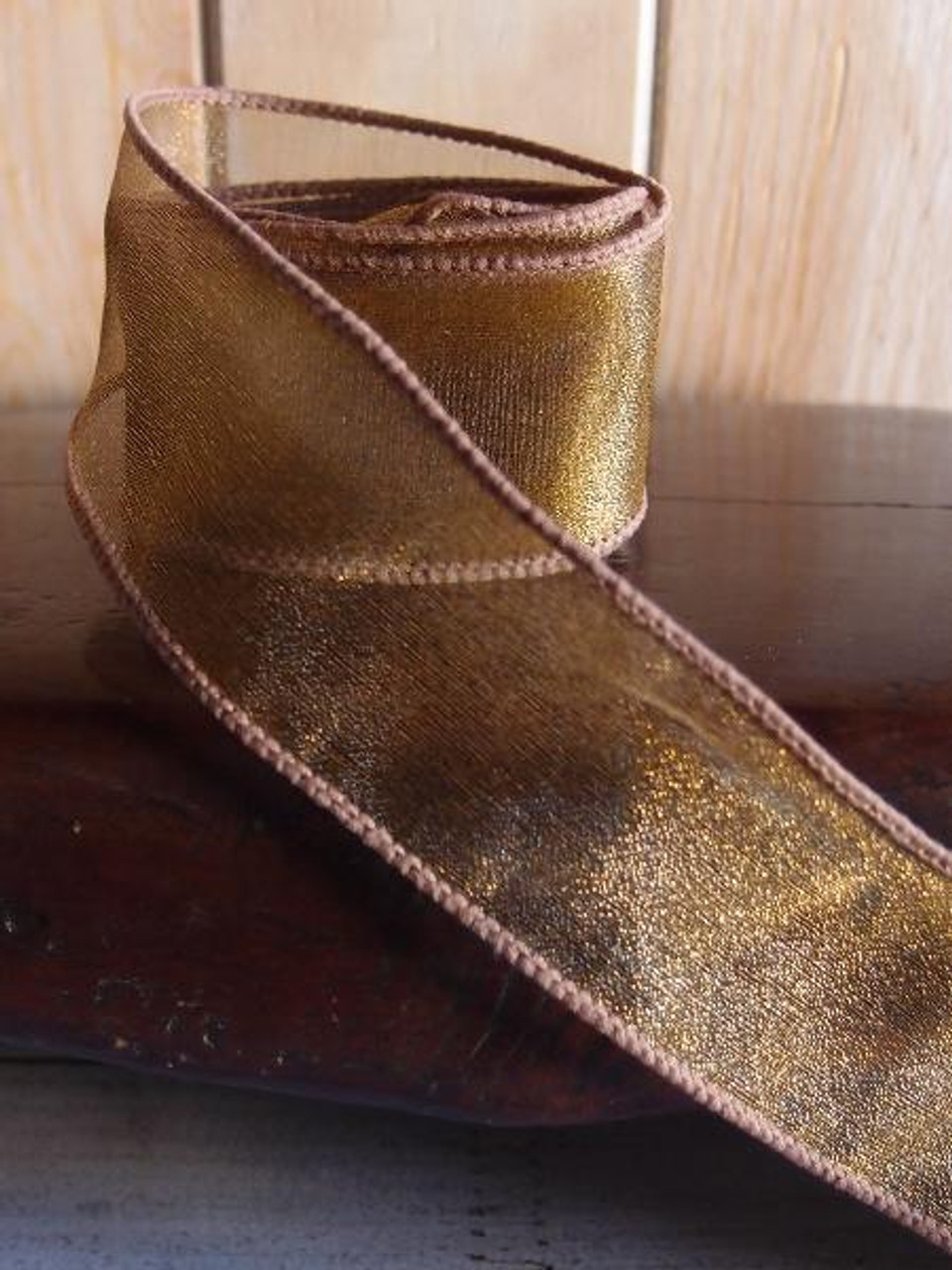 Brown Two-Toned Organza Wire Ribbon (2 sizes)