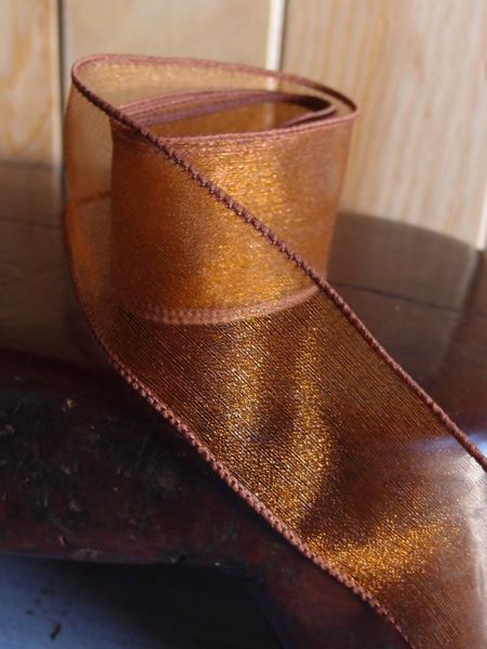 Copper Two-Toned Organza Wire Ribbon (2 sizes)