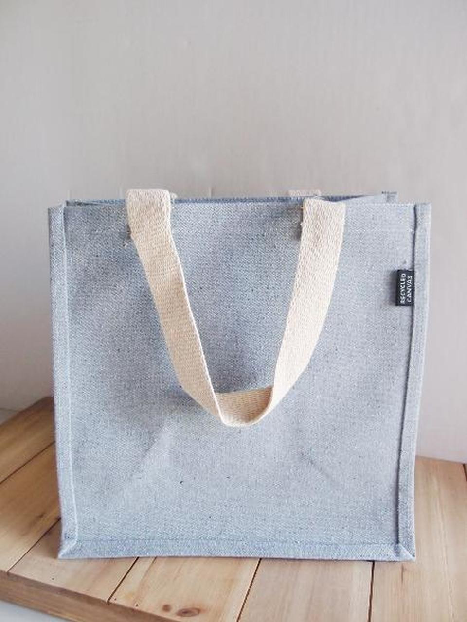 Organic Cotton Bags, Cotton Tote Bags, Grey Recycled Canvas Tote Bag with Laminated Lining