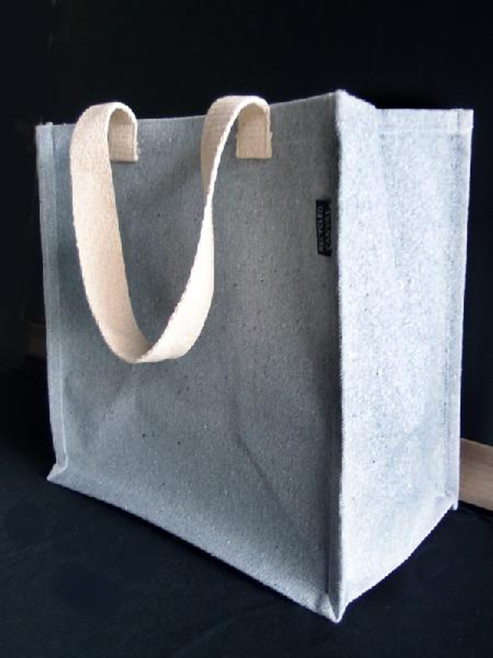 """Gray Recycled Canvas Tote with Laminated Lining 12"""" W x 12"""" H x 7 3/4"""" Gusset"""
