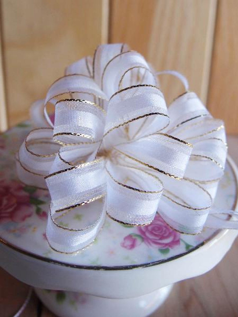 White with Gold Edge Pull Bow Ribbon