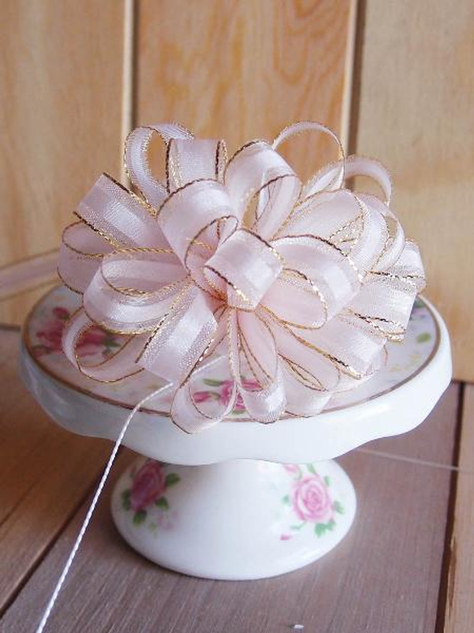 Pink with Gold Edge Pull Bow Ribbon