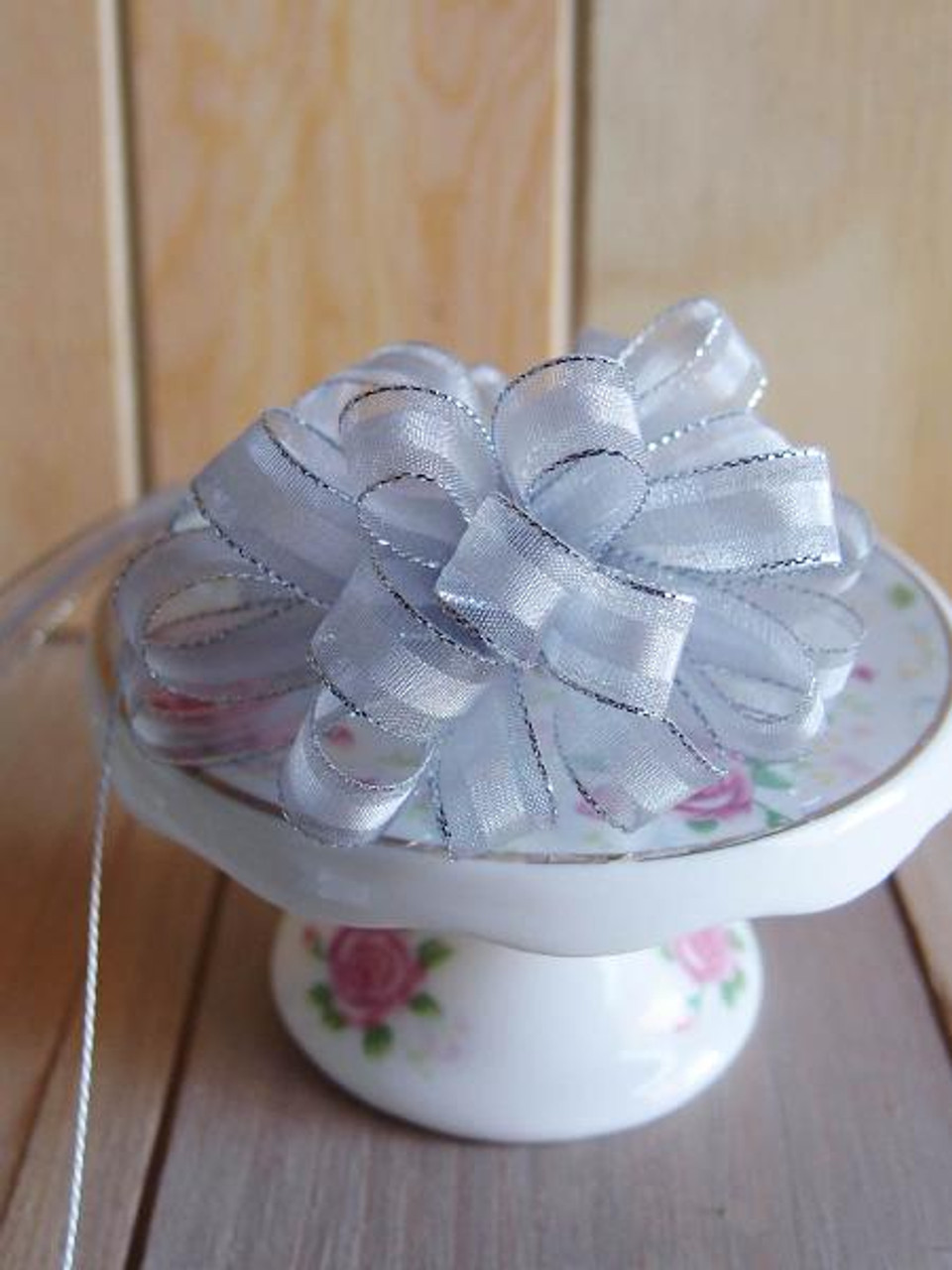 Silver with Silver Edge Pull Bow Ribbon