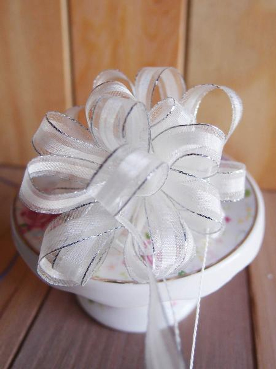 Ivory with Silver Edge Pull Bow Ribbon