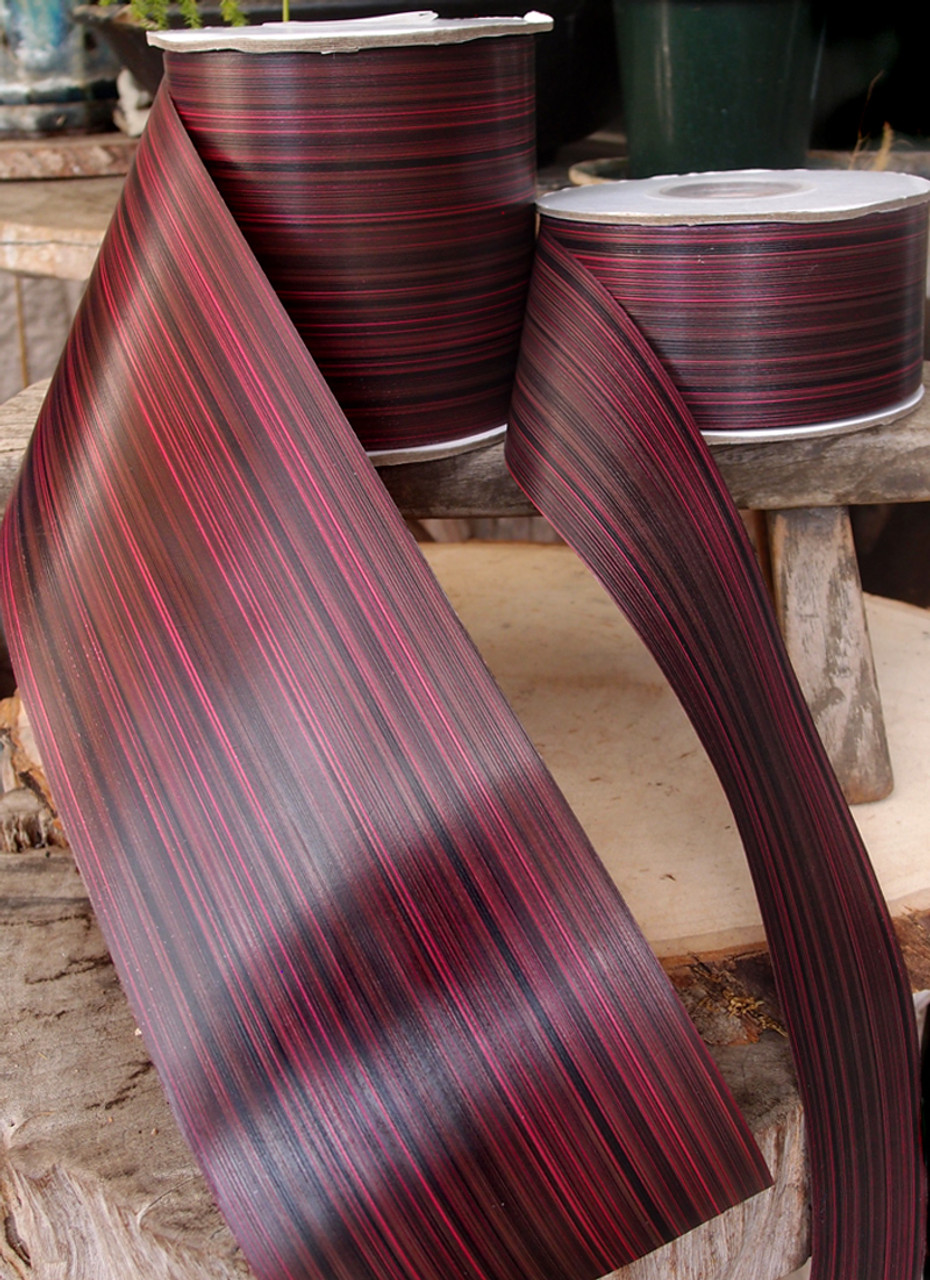 "Variegated Burgundy & Black  2""  Aspidistra Ti Leaf Floral Ribbon"