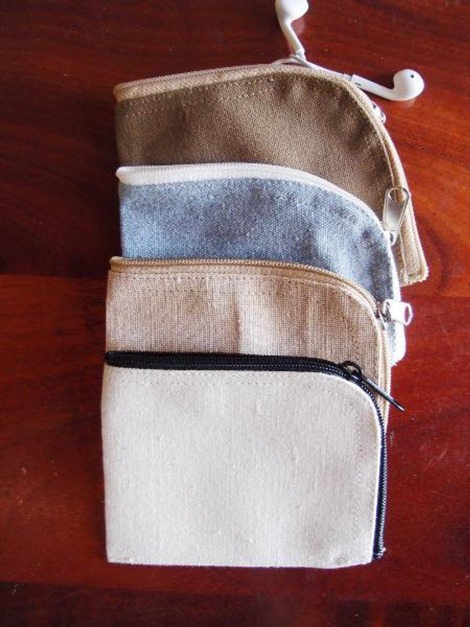 Jute Blend Curved Zippered Pouch