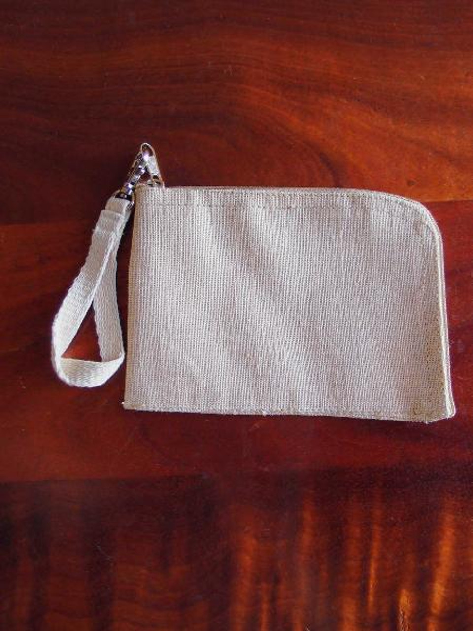 Jute Blend Curved Zippered Pouch with Wristlet