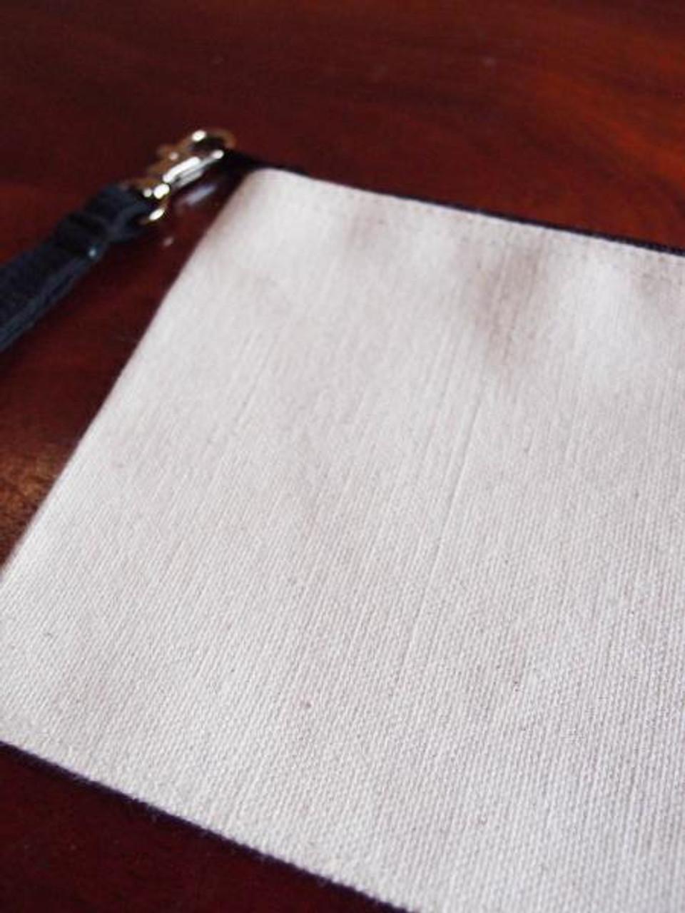 Cotton Canvas Curved Black Zipper Pouch with Black Wristlet