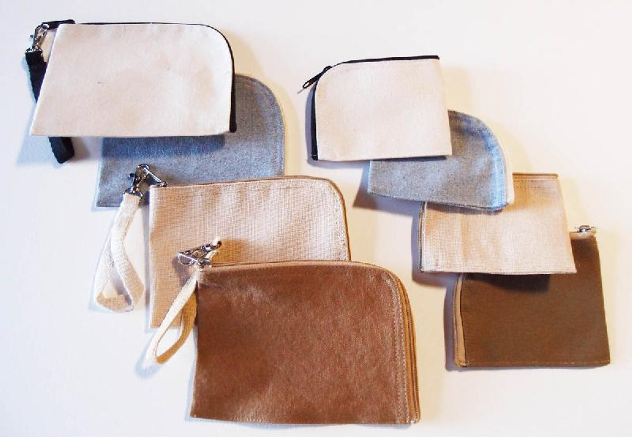 Cotton Brown Washed Canvas Curved Zippered Pouch with Wristlet
