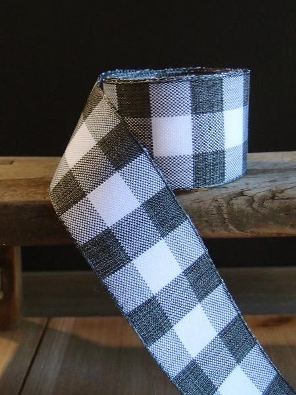 Black & White Check Buffalo Plaid Ribbon