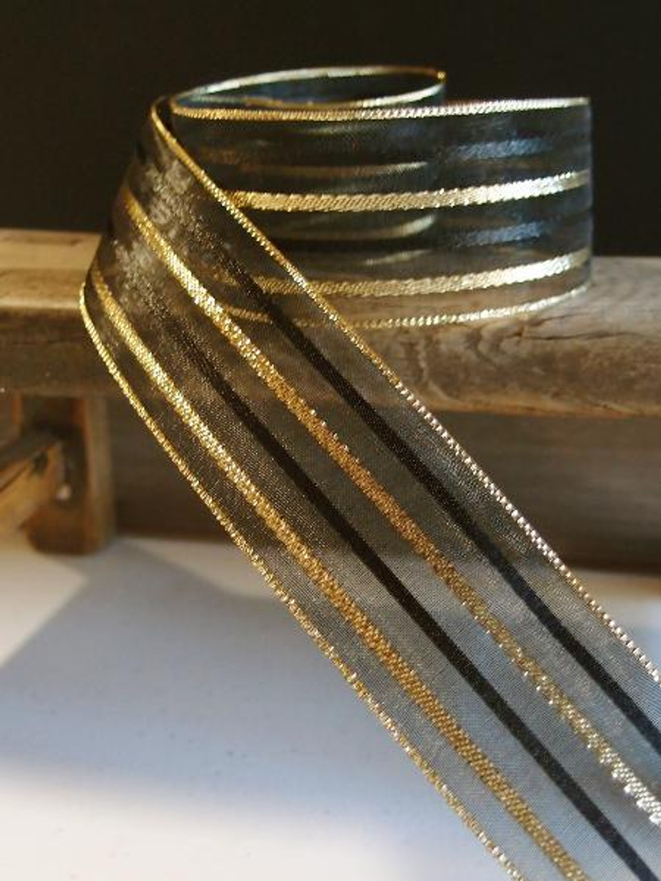 Black Sheer Ribbon w/ Metallic Gold Stripes