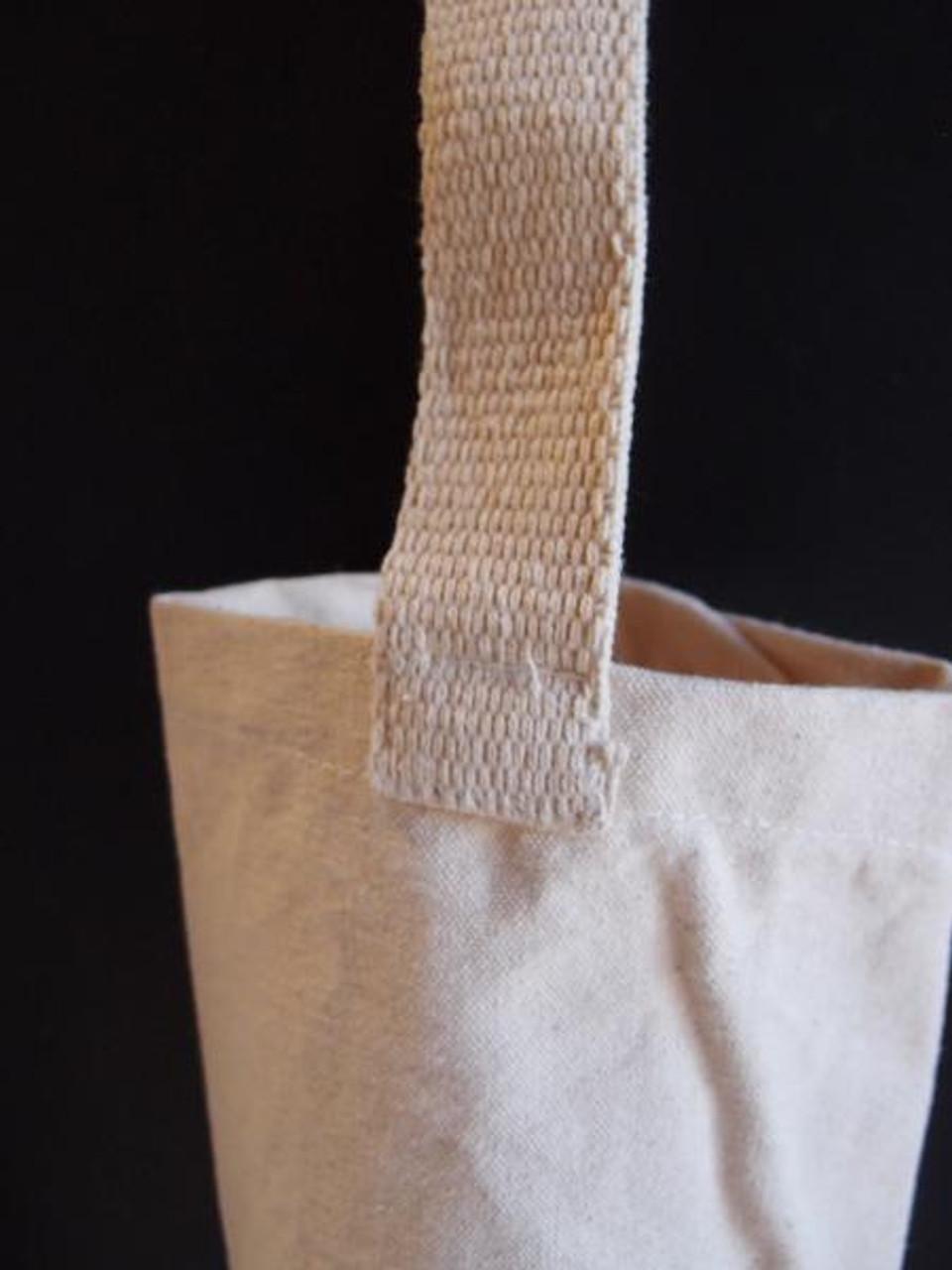 """Cotton Canvas Wine Tote Bag 3 3/4"""" x 10"""""""