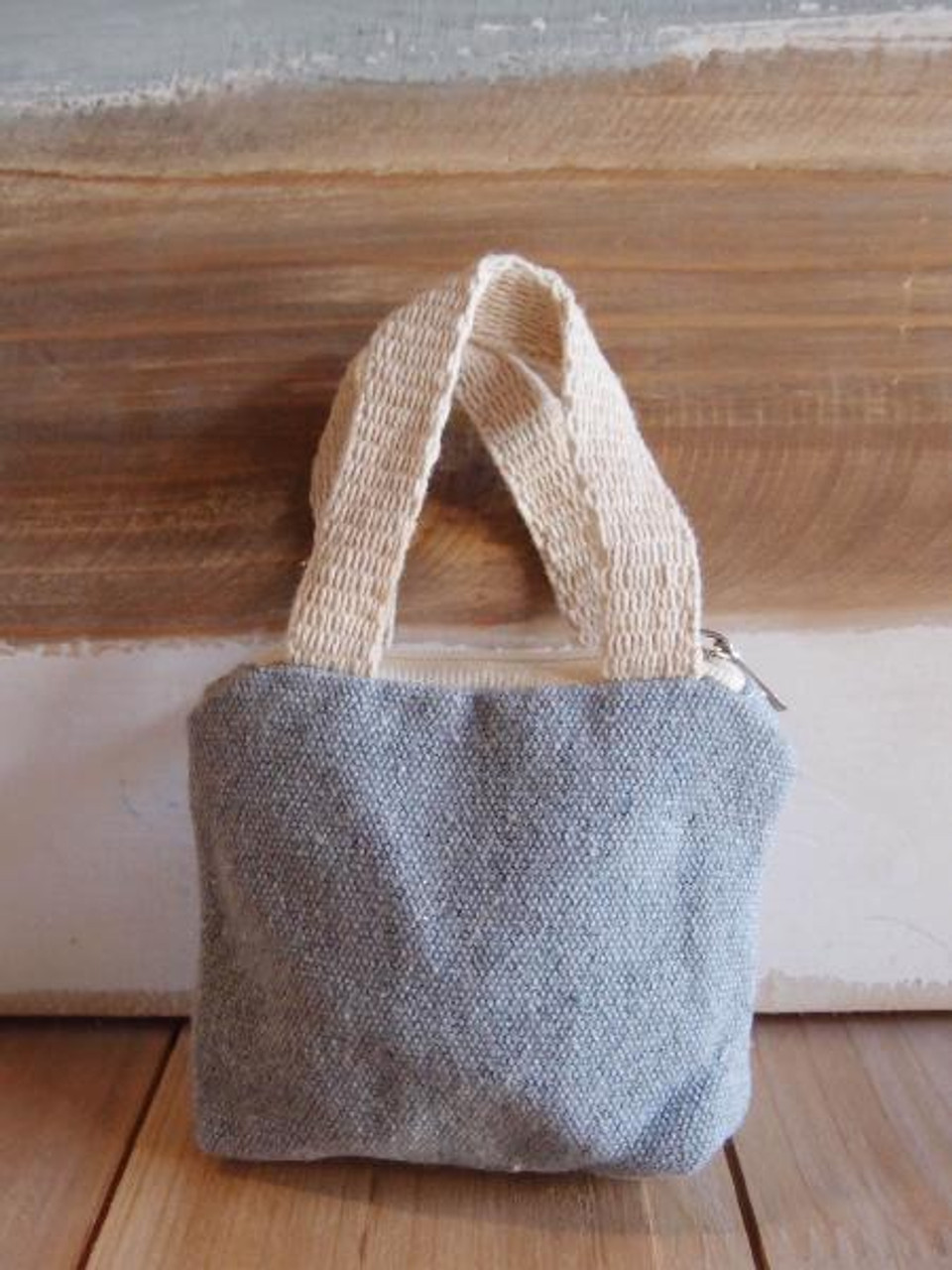 Gray Mini Tote Bag Zippered with Natural Handles B690-70, Wholesale Tote Bags | Packaging Decor