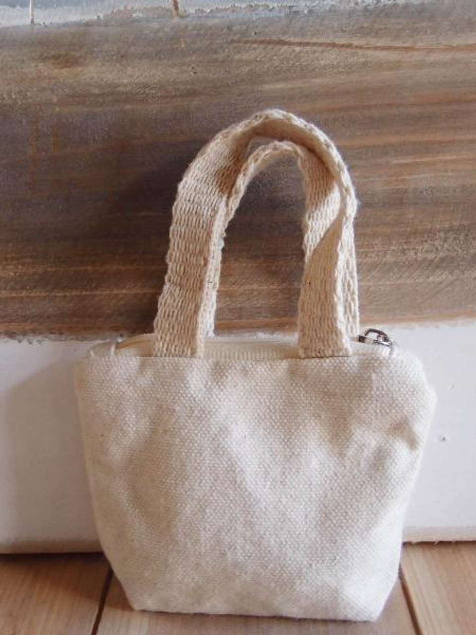 Natural Tiny Tote Zippered with Natural Handles, Wholesale Tote Bags | Packaging Decor