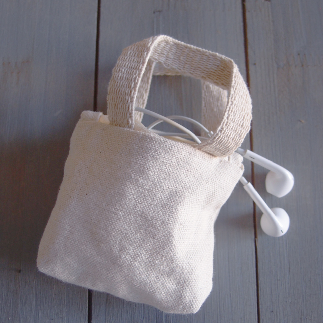 Natural Tiny Tote Zippered with Natural Handles