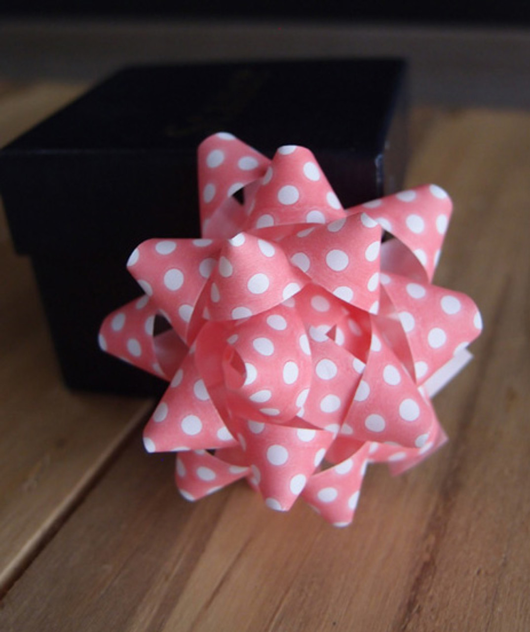 """Pink with White Dots 2"""" Star Bows"""