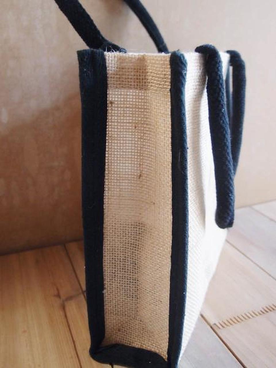"Jute Tote with Black Cotton Trim 10.25"" x 9"" x 3"" (B874-79), Wholesale Burlap Tote Bags | Packaging Decor"
