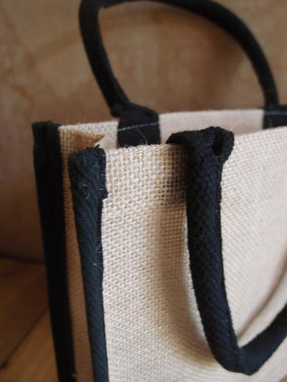 "Jute Tote with Black Cotton Trim 10.25"" x 9"" x 3"" (B874-79), Jute Tote Bags, Wholesale Burlap Tote Bags"